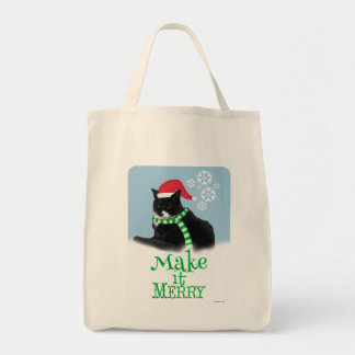 Make it Merry Holiday Tuxedo Cat Tote Bag
