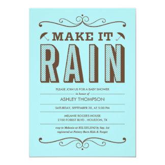 Make it Rain Blue Baby Shower Invitations