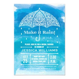 Make it Rain Watercolor Shower Invitation Blue