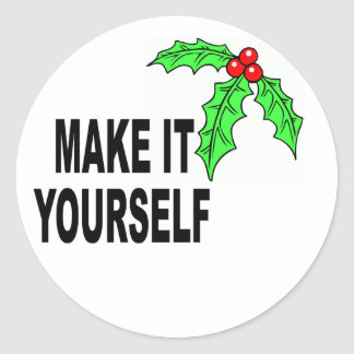 Make It Yourself Christmas Holly & Berries Classic Round Sticker