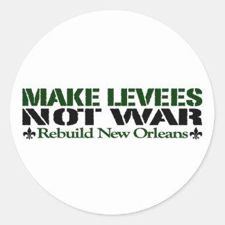 Make Levees Not War Classic Round Sticker