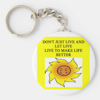 make life better basic round button keychain