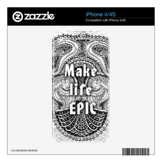 Make life EPIC - Positive Quote´s iPhone 4 Skin