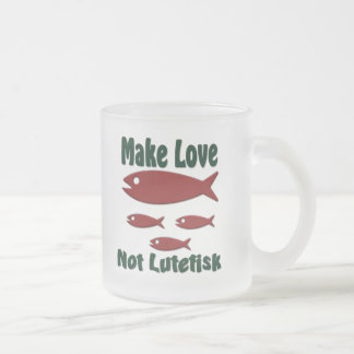 Make Love Not Lutefisk Funny Scandinavian Frosted Glass Coffee Mug