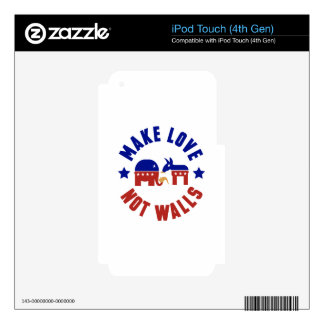 Make love, not walls trump funny one liner decal for iPod touch 4G