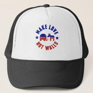 Make love, not walls trump funny one liner trucker hat