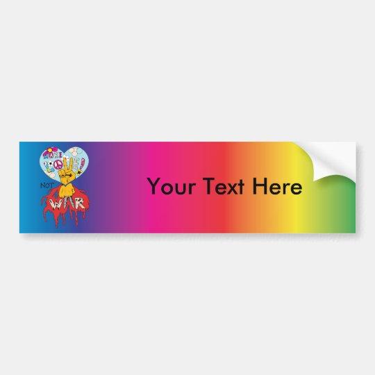 Make Love Not War 2 ~ 60s Hippie Peace Sign Bumper Sticker