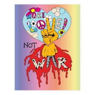 Make Love Not War 2 ~ 60s Hippie Peace Sign Postcard