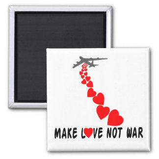 Make love not war 2 inch square magnet