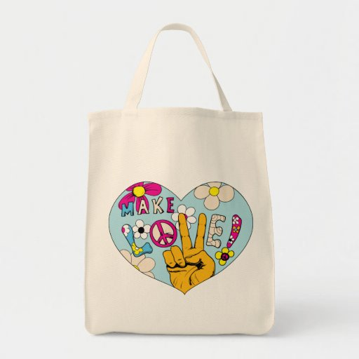Make Love Not War ~ 60s Hippie Peace Sign Grocery Tote Bag