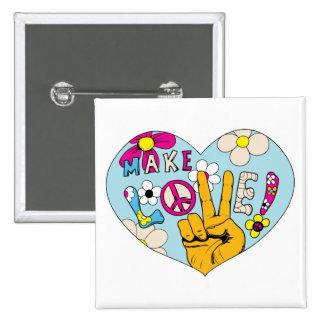 Make Love Not War 60s Hippie Peace Sign Pinback Button