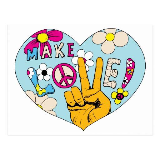 Make Love Not War ~ 60s Hippie Peace Sign Postcard