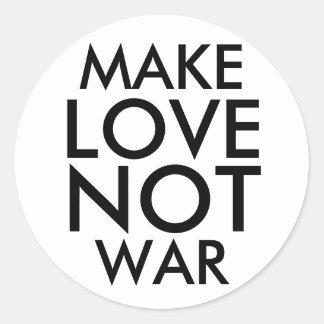 MAKE LOVE NOT WAR CLASSIC ROUND STICKER