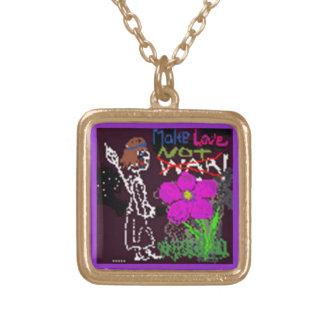 Make love not war cute black pattern art sketch square pendant necklace