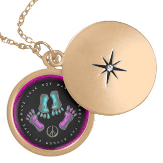 Make love not war gold locket necklace by Valxart