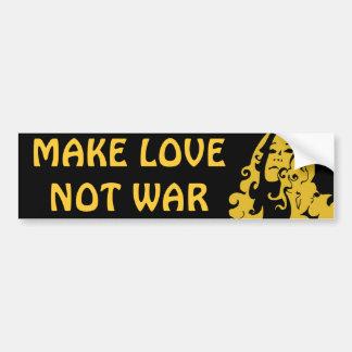 Make Love Not War Hippie Girl Bumper Sticker