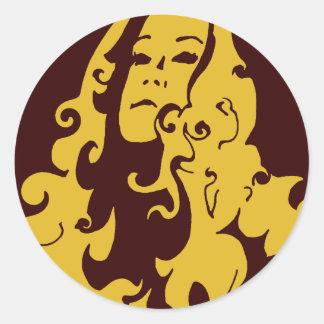 Make Love Not War Hippie Girl Classic Round Sticker