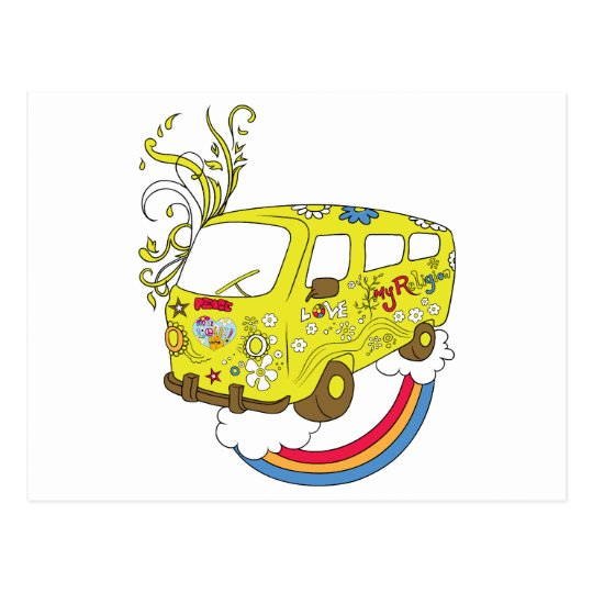 Make Love Not War Van ~ 60s Hippie Peace Sign Postcard