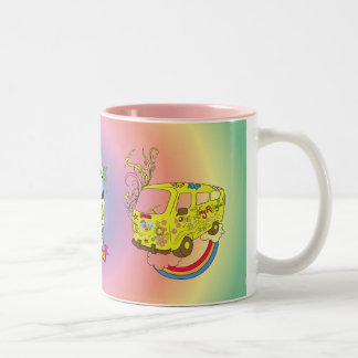 Make Love Not War Van ~ 60s Hippie Peace Sign Two-Tone Coffee Mug
