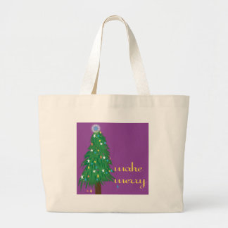 Make Merry Purple with Lighted Christmas Tree Canvas Bag