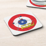 """""""Make mine a Double"""" Curler's Coasters - (Red)"""