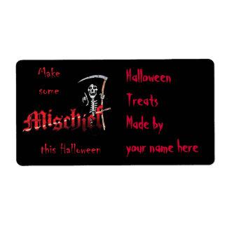 Make Mischief Halloween Skeleton Label