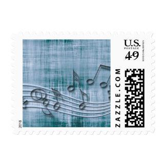 make music 03 blue postage stamps