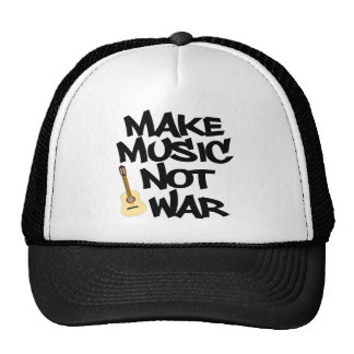 Make Music Not War Acoustic guitar Trucker Hat