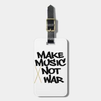 Make Music Not War Drums Travel Bag Tag