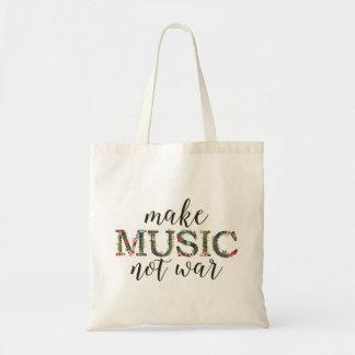 Make music not war floral tote bag