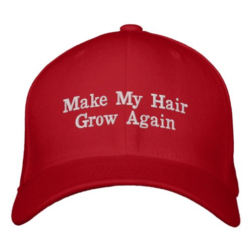 Make My Hair Grow Again Bald Man Joke Gift Embroidered Baseball Cap