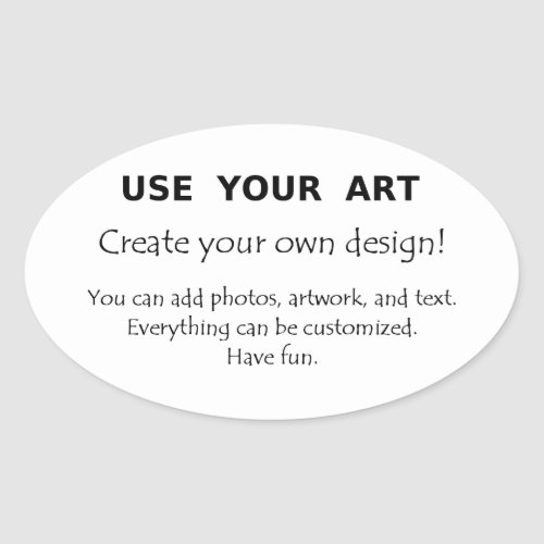 Make my own oval stickers with art photo text logo