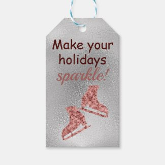 Make our holidays sparkle - sparkle ice skating gift tags