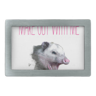 Make out with me opposum belt buckle