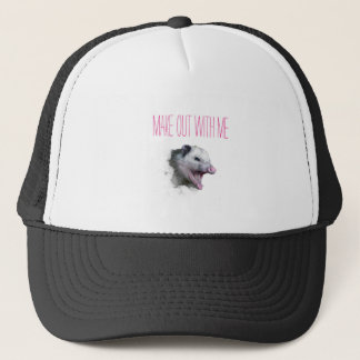 Make out with me opposum trucker hat