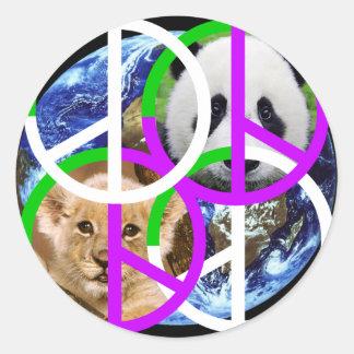 MAKE PEACE art Round Sticker