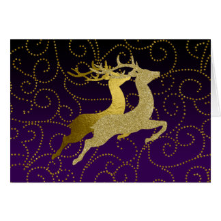 Make Purple Any Color Ombre Gold Reindeer Holiday Card