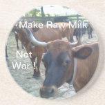 MAKE RAW MILK NOT WAR ! BEVERAGE COASTER