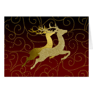 Make Red  Any Color Ombre Gold Reindeer Holiday Card