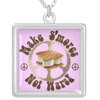 Make S'mores Not Wars Silver Plated Necklace