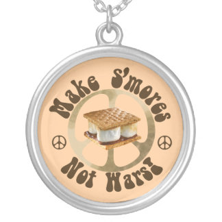 Make Smores Not Wars Silver Plated Necklace