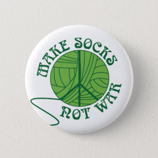 Make Socks Not War Knitting Design Pinback Button