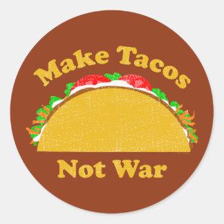 Make Tacos Not War Classic Round Sticker