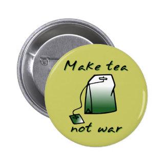 Make Tea Not War Funny Button Badge Humor