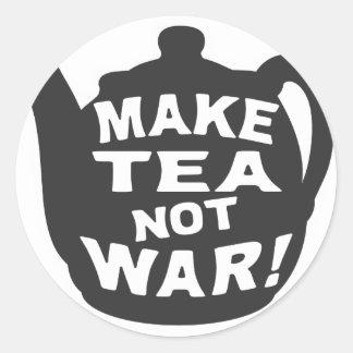 Make Tea Not War! Round Sticker