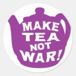 Make Tea Not War v11 Round Stickers