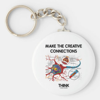 Make The Creative Connections Think (Neuron) Basic Round Button Keychain