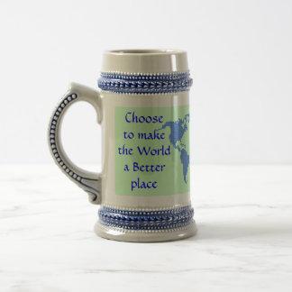 make the World better stein 18 Oz Beer Stein