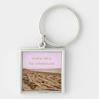 Make Time For Adventures Silver-Colored Square Keychain