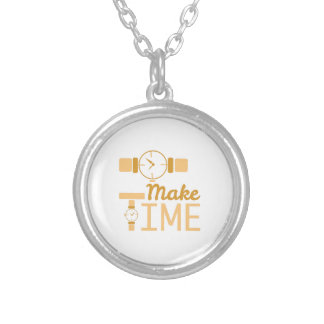 Make Time Round Pendant Necklace